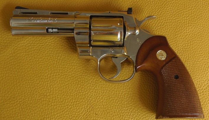 "Colt Python 4"" Polished Nickel 357 Mag"