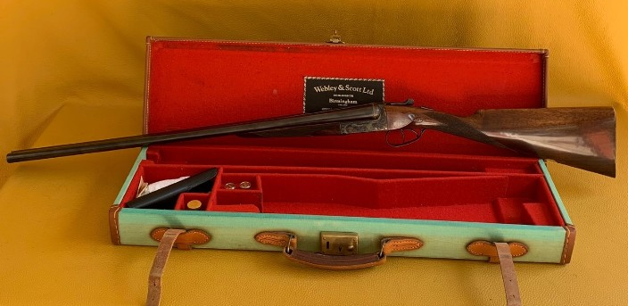 "Webley & Scott Mod 720. 20 Ga 2 ¾""cased. Second of a composed consecutive number pair"